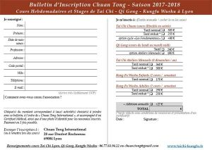 Tai Chi Lyon Kungfu Wushu enfants Bulletin Inscription Cours Taichi 2017 2018